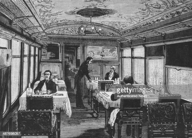 Engraving of the ornate dining car of the Orient Express luxury passenger train circa 18831900
