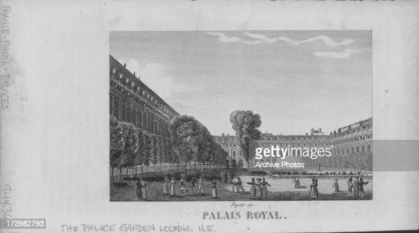 Engraving of the PalaisRoyal with a view of the palace gardens and large inner courtyard circa 17501850