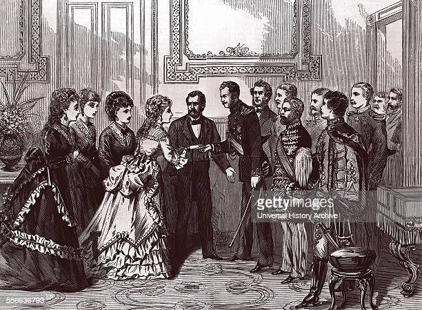 Engraving of the presentation of the Grand Duke Alexei Aleksandrovich of Russia to First Lady Grant in the Red Room of the White House By James E...