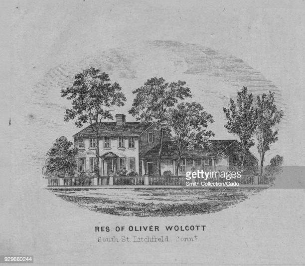 Engraving of the residence of Oliver Wolcott singer of both the Declaration of Independence and Articles of Confederation Litchfield Connecticut 1836...