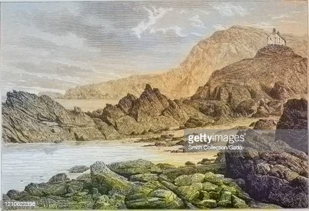 Engraving of the rocks at Ilfracombe Devon England from the book The earth and its inhabitants by Elisee Reclus 1881 Courtesy Internet Archive Note...