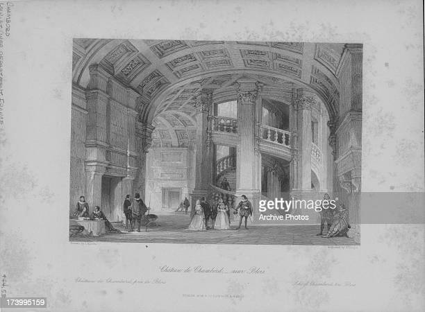 Engraving of the Royal Château de Chambord, with its distinctive French Renaissance architecture with traditional French medieval forms and an...