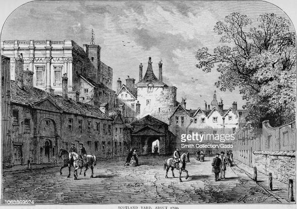"Engraving of the Scotland Yard at Whitehall, London, England, from the book ""Old and new London: a narrative of its history, its people, and its..."