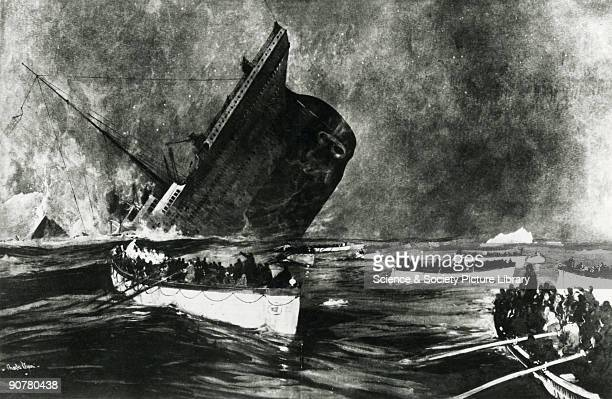 Engraving of the ship sinking after hitting an iceberg in the Atlantic Ocean RMS Titanic was built in Belfast Northern Ireland by Harland and Wolff...