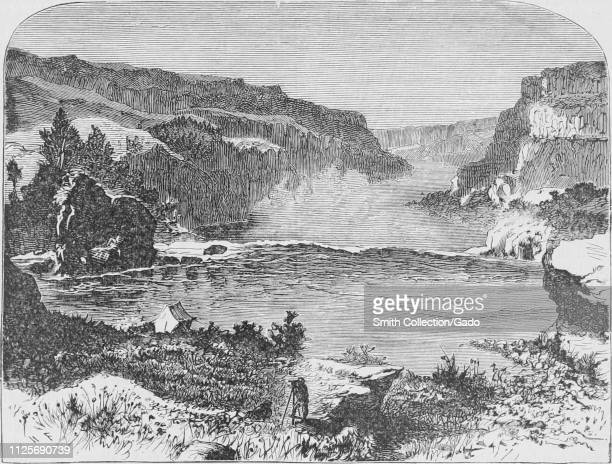 """Engraving of the Shoshone Falls, a waterfall on the Snake River in Idaho, from the book """"The Pacific tourist"""" by Henry T. Williams, 1878. Courtesy..."""