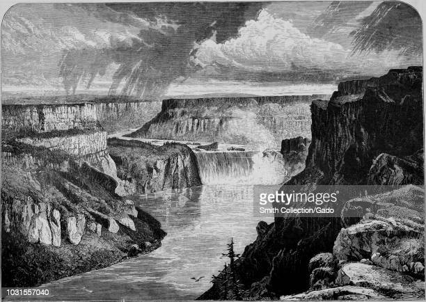 """Engraving of the Shoshone Falls on the Snake River in Idaho, from the book """"The Pacific tourist"""", 1877. Courtesy Internet Archive."""