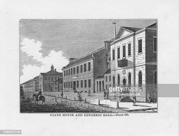 Engraving of the State House and Congress Hall at Chestnut Street in Philadelphia, Pennsylvania, 1850. From the New York Public Library.
