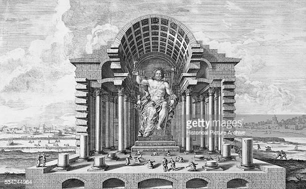 Engraving of the Statue of Zeus at Olympia by Fischer von Erlach