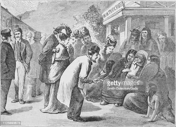 """Engraving of the street scene """"Two Bits To See The Pappose"""", from the book """"The Pacific tourist"""" by Henry T. Williams, 1878. Courtesy Internet..."""