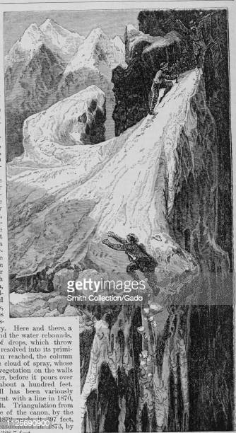 Engraving of the two mountaineers ascending the glaciers of Mount Hayden from the book The Pacific tourist by Henry T Williams 1878 Courtesy Internet...