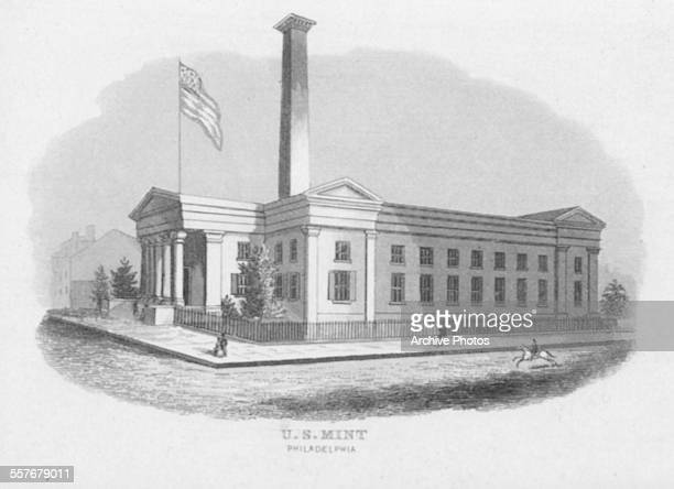 Engraving of the United States Mint building with the American flag flying in Philadelphia Pennsylvania circa 1900
