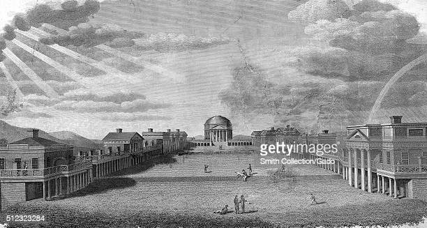 Engraving of the University of Virginia campus sun shinning through the clouds people in the center by Benjamin Tanner 1826 From the New York Public...