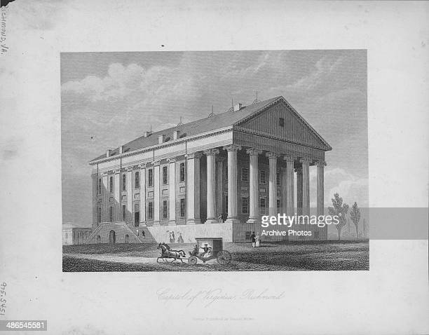 Engraving of the Virginia State Capitol Building the seat of state government of the Commonwealth of Virginia Richmond Virginia circa 17901800