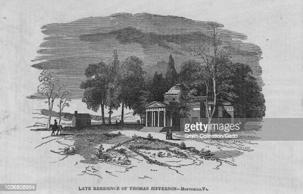 Engraving of Thomas Jefferson residence in Monticello, Virginia, third president of the United States, an American Founding Father and principal...