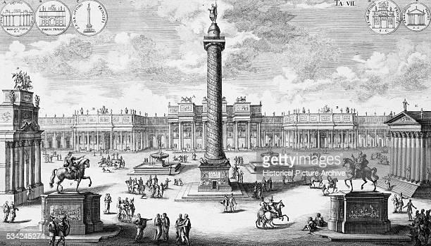 Engraving of Trajan Market Place Rome by Fischer von Erlach