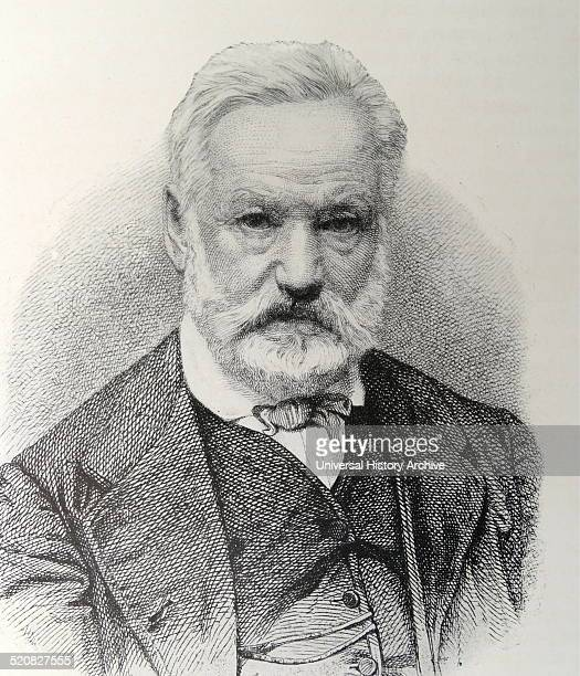 Engraving of Victor Hugo French poet novelist and dramatist of the Romantic movement Dated 1869