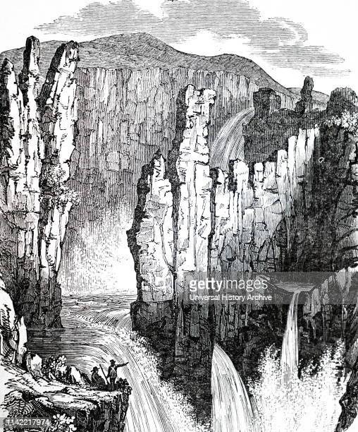 Engraving of Wilberforce Falls, waterfall, in the Wilberforce Gorge, Nunavut, Canada. The falls is one of the few major waterfalls in the world north...