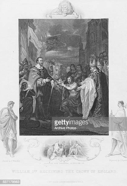 Engraving of William I of England or William the Conqueror being crowned London December 25th 1066 Engraved by J Rogers from the original by B West