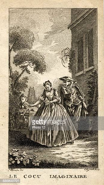Engraving of XVIIIe century Scene of the Imaginary Cuckold of Molière