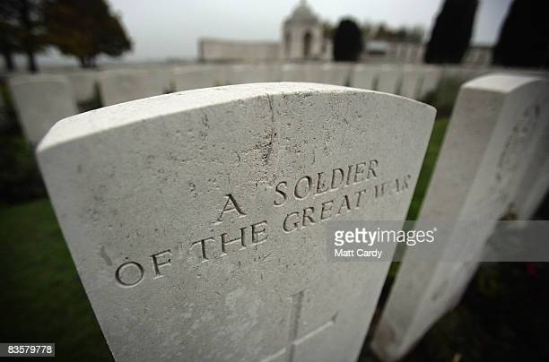 Engraving on a gravestone in the Tyne Cot Cemetery the largest Commonwealth war grave cemetery in the world on November 5 2008 near Ypres Belguim The...