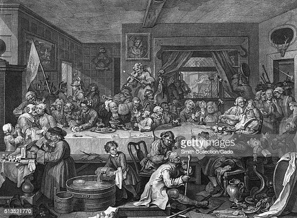 Engraving on paper titled The Humours of an Election Plate 1 An Election Entertainment depicting a tavern dinner organised by the Whig candidates...