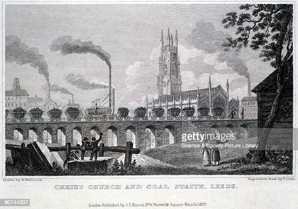 Engraving on steel by T Owen after a drawing by Nathaniel Whittock In the middle ground an early steam locomotive hauling a train of coal wagons is...