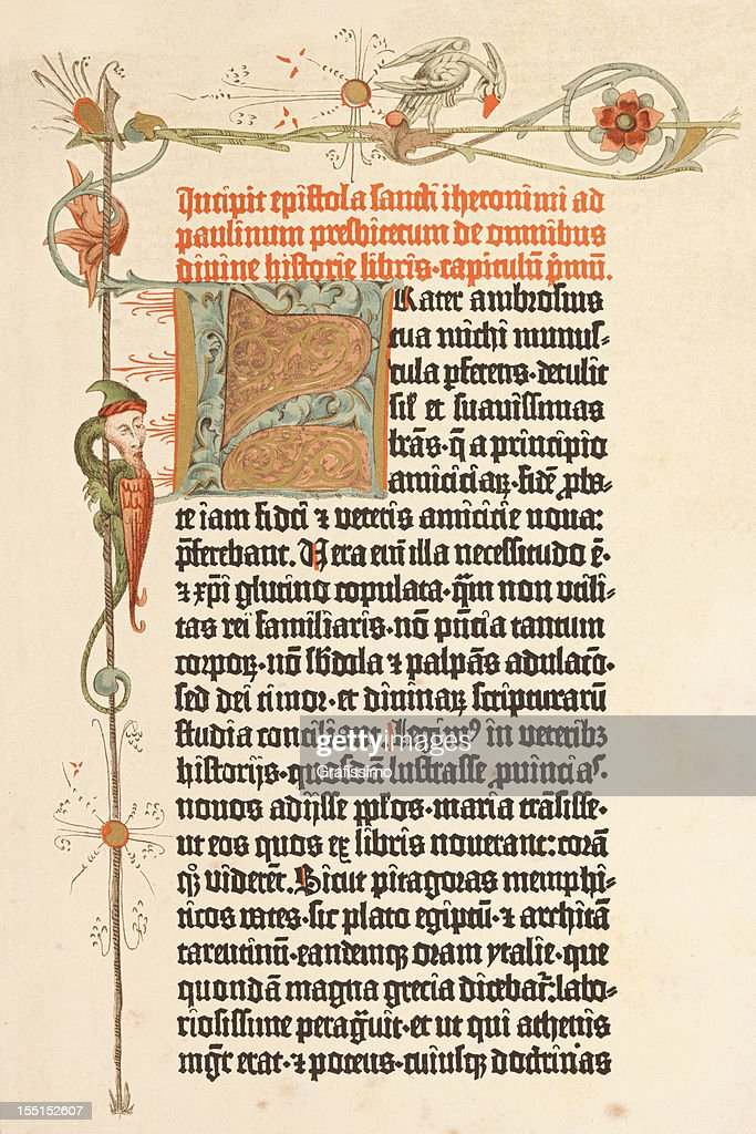 Engraving page of Gutenberg bible printed in 1455 : Stock Photo