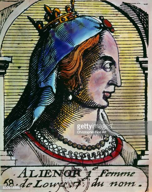 Engraving Portrait of Eleanor of Aquitaine queen of France Paris Bibliotheque Nationale