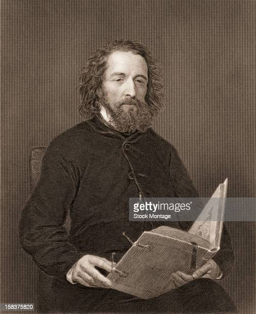 Engraving portrait of English poet Alfred, Lord Tennyson , mid to late 19th century.