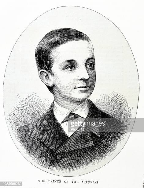 Engraving portrait of the young Prince Alfonso XII of Spain. Dated 1870.