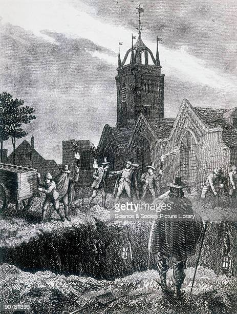 Engraving possibly 19th century showing a group of men with torches in a churchyard preparing to empty the contents of a covered cart into the �Great...