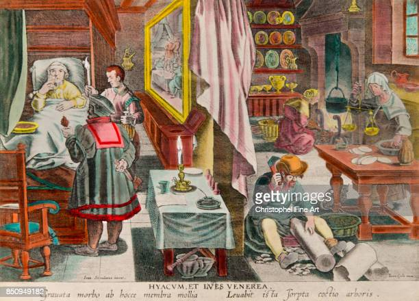 Engraving Preparating a Guanobased Medicine to treat the Syphilis 17th century Private Collection