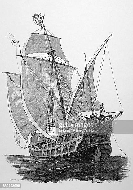 Engraving print of a Caravel a small highly manoeuvrable sailing ship developed in the 15th Century by the Portuguese to explore along the West...
