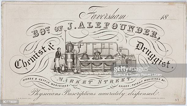 Engraving printed by F R R Isaac of London Based in Faversham Kent J Alefounder advertises himself as a physician with �prescriptions accurately...