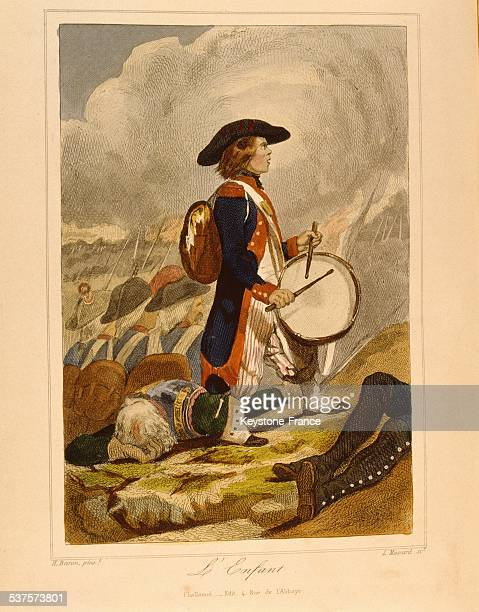 Engraving representing a child enlisted in the revolutionary troops published in the book 'History of the French in the Revolution' circa 1790 in...