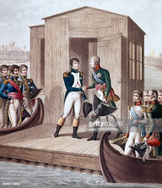 Engraving representing the handshake between the Emperor NAPOLEON 1st and the Czar of Russia ALEXANDRE 1st on a raft built for this occasion on the...