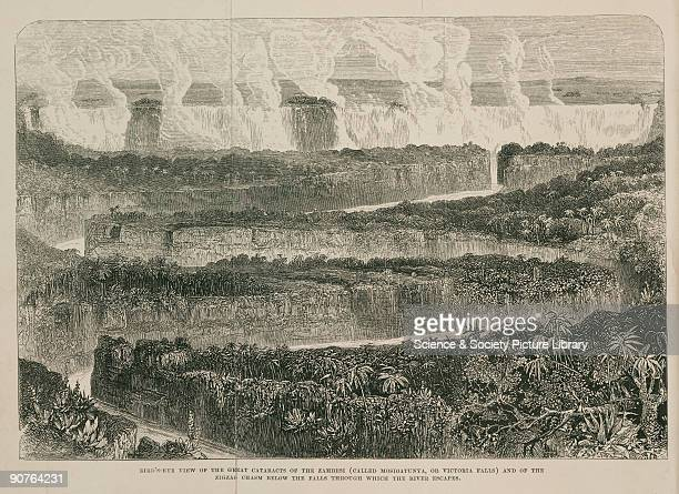 Engraving showing a bird�s eye view of the �Great Cataracts of the Zambesi and of the Zigzag Chasm below the Falls through which the River escapes�...
