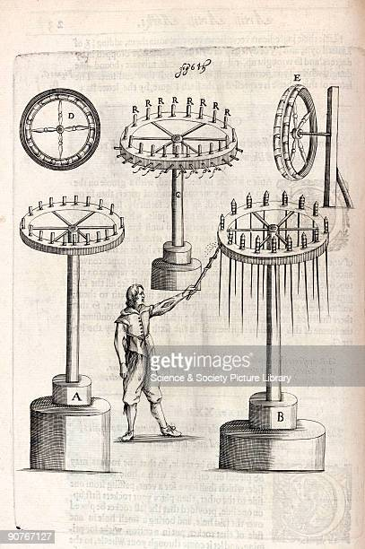 Engraving showing a fixed wheel that 'shall cast forth many rockets in the ayre' In all sixteen rockets would be fired in succession Firework...