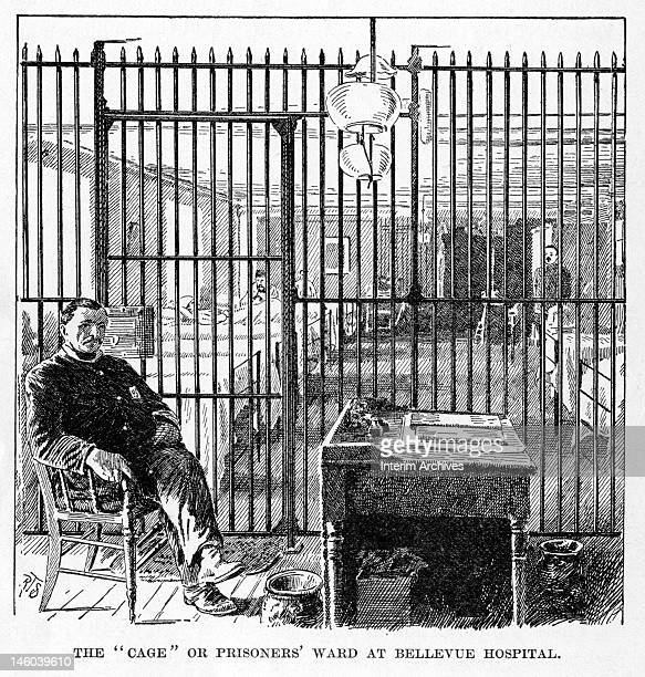 Engraving showing a guard seated at a desk outside the 'cage' or prisoners' ward at Bellevue Hospital New York late nineteenth century Illustration...