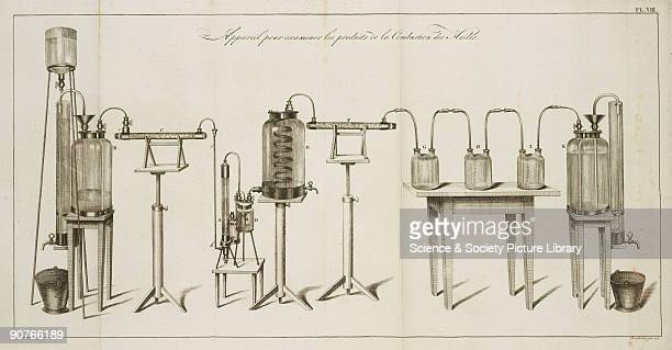 Engraving showing �Apparatus for examining the products of Combustion of Oils� Illustration from �Description de quelques appareils chimiques...