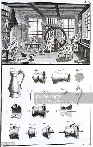 Engraving showing craftsmen producing pewter items in their workshop A man handcranks a drivebelt to power a lathe or drill Below are examples of...