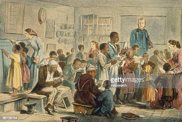 Engraving showing freed black slaves learning to read with white teachers in school circa 1860