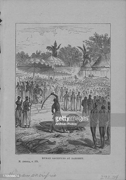 Engraving showing human sacrifice in Dahomey present day Republic of Benin in Africa 1877 Original sketch by Marcus Ward