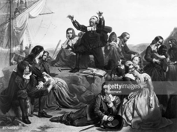 Engraving showing Pilgrims on the deck of the Speedwell with their minister John Robinson prior to their departure from Delft Haven Holland on July...