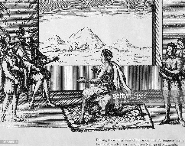 Engraving Showing Queen Nzinga of Matamba sometimes known as Dona Anna De Souza sitting on a kneeling man to receive a group of Portuguese circa 1626...
