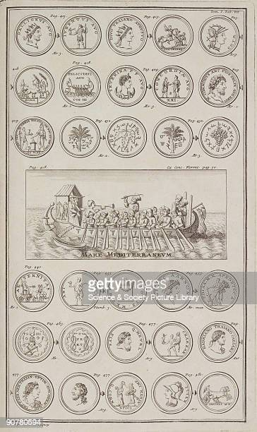 Engraving showing some miserable bearded men being threatened with a whip as they row Above and below are Greek and Roman coins some with portraits...