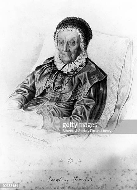 Engraving showing the astronomer Caroline Herschel in 1841 at the age of 92 Caroline was the younger sister of the famous astronomer Sir William...