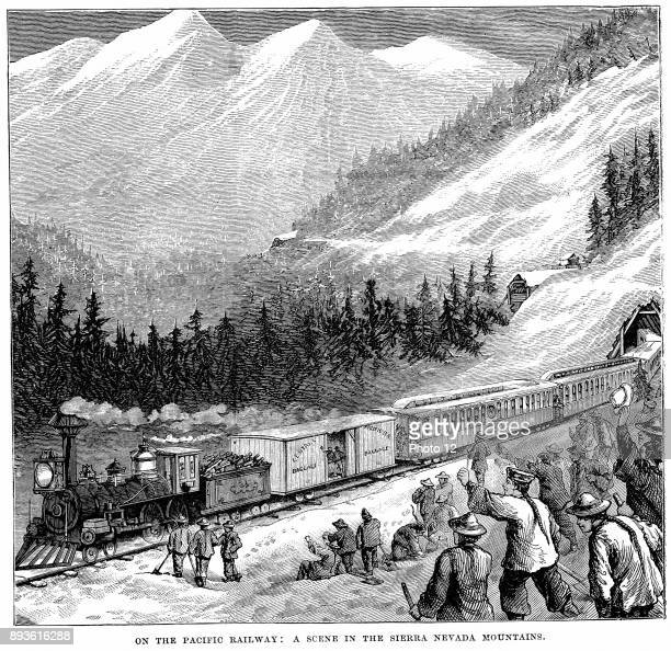 Engraving showing the Central Pacific Railroad in the Sierra Nevada mountains