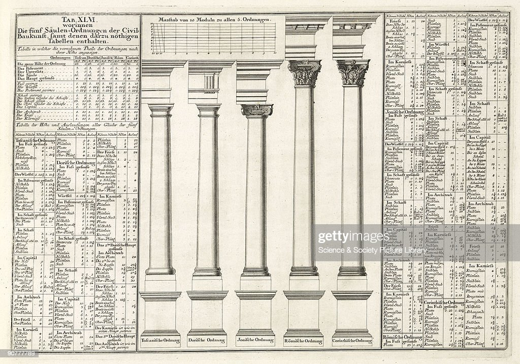 Engraving Showing The Five Classical Types Of Pillar Tuscan Doric Ionic Roman