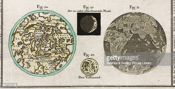 Engraving showing the Mediterranean and Asia Minor including Palestine Arabia Persia and Egypt partial Moon full Moon a view of Earth with the Indian...
